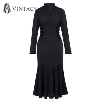 Autumn Women Vintage Gothic Dress Button Long Sleeve Dresses Pleated Mandarin Collar Dress Black Elegant Trumpet Mermaid Dresses