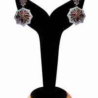Fashion Earrings for Women in Red and White Stones
