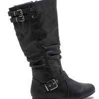 Night-76 Buckle Trim Slouch Boot