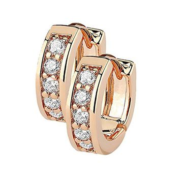 BodyJ4You Small Earrings Hoops Huggie Half Circle Pave CZ Crystal Rose Gold Stainless Steel 12mm