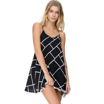 Black Halter Checkered Print Dress with Tassels