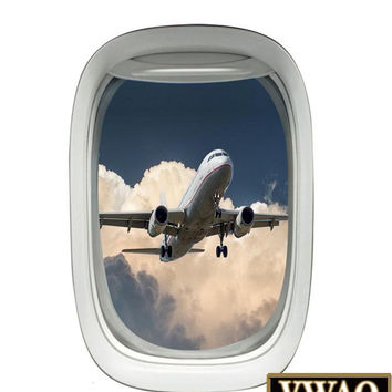 Airplane Window Decal with Jumbo Plane Sky View Mural Peel and Stick Aviation Decor VWAQ-A01
