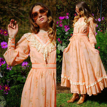 70s Victorian Dress, Vintage GUNNE SAX Dress, Long Sleeve Floral Apricot Cotton Gauze Prairie Dress, High Collar Country Boho Hippie Dress