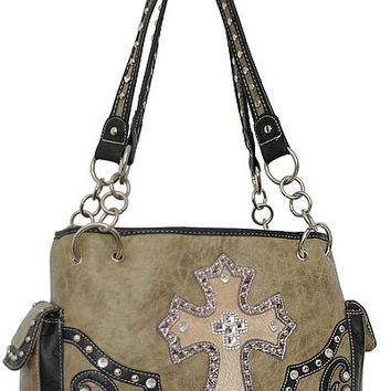Cross Leather Designer Fashion Bling Western Stitch Rhinestone Stud Trendy Purse Handbag Green Black