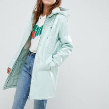 ASOS DESIGN Borg High Shine Rain Jacket | ASOS
