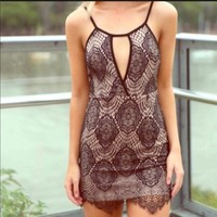 LF dream state nude and black lace dress