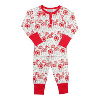 Coccoli Baby Girls' Red Blossoms Henley Pajama