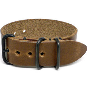 American Made NATO Leather Strap - Chromexcel Natural
