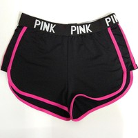 Pink Stylish Alphabet Shorts Professional Gym Permeable Quick Dry Sportswear [103285653519]