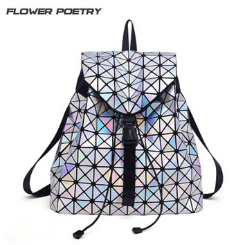 Women Laser Backpack for Teenage Girls Drawstring Fold Geometry Mirror Schoolbags Quilted Backpack Holograph School Bags Mochila