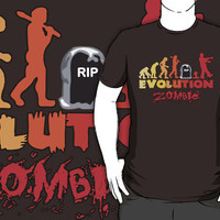 Zombie Evolution Typograph Tee TShirt man, woman and Kids