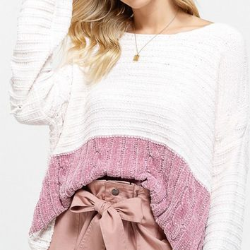 Kiss Today Goodbye White Pink Long Sleeve Chenille Round Neck Cable Trim Pullover Sweater