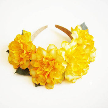 Etsy Transaction -          Sherbet Lemon Statement Headband // Floral Headpiece// Lana Del Rey// Floral Crown. Floral Headband