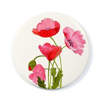 Pink Poppies Pocket Mirror