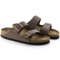 2017 Hot Sale Arizona Birkenstock Summer Fashion Leather Sandals For Women Men color brown size 34-46