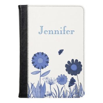 Personalized painted flower meadow blue and white