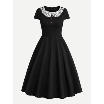 Contrast Crochet Collar Circle Dress