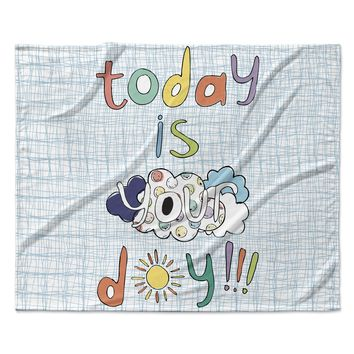"MaJoBV ""Today Is Your Day"" Blue Cloud Fleece Throw Blanket"