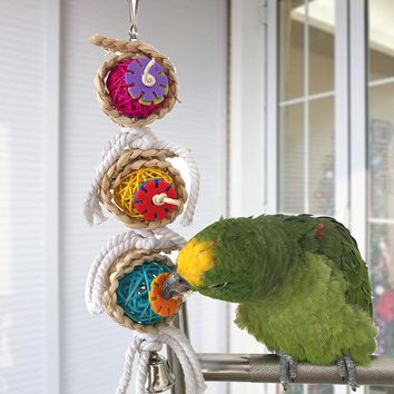 Parrot Climb Chew Toy. Swing Cage Toy with Bell