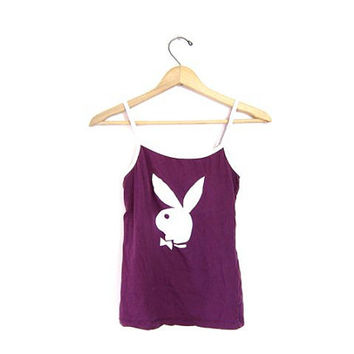 Vintage PLAYBOY Tank Top. Purple Cropped Small Sexy Nightie Shirt Grunge Tee Shirt Cotton hipster street urban size XS Small