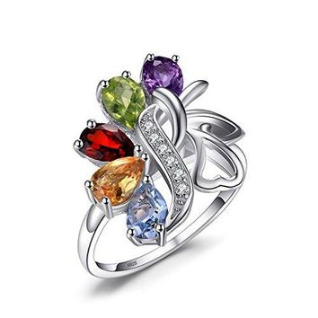 JewelryPalace Butterfly 24ct Genuine Amethyst Garnet Peridot Citrine Blue Topaz Cocktail Ring 925 Sterling silver