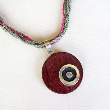 Sterling Silver and Kingwood Pendant - Vegetal natural cord Purple and Green Necklace - Circle Silver in Round Wood - Simple Purple Necklace