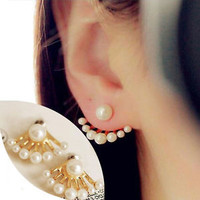 Fashion Korean Small Imitation Pearl Earrings Dragon Hand Ear Cuff Ear Stud TS