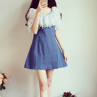 Short Sleeve Thin Denim Mini Dress