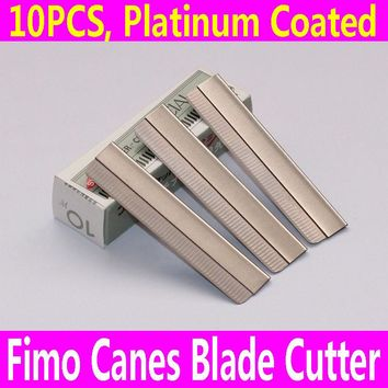 10PCS Razor Blade Fimo Polymer Clay Canes Rods Cutter for 3D Nail Art Decorations Fruit Sticks Charms Slices Tools Foil DIY Set