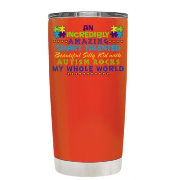 TREK An Amazing Smart Talented Kid with Autism on Vermilion 20 oz Tumbler Cup