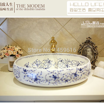 Oval Bathroom Ceramic Counter Top Wash Basin Cloakroom Hand Painted Vessel Sink 5037