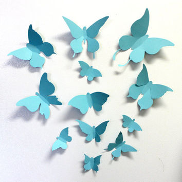 Set of 12 Hand cut Blue Angels,3D Butterflies,For Baby Shower,Weddings,Nursery,Blue 3d butterflies