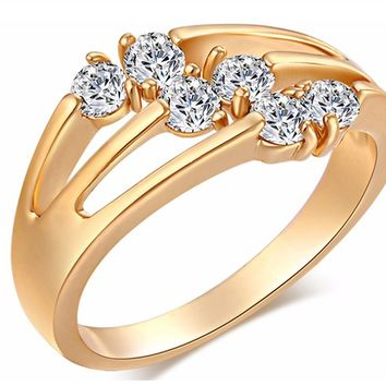 Zircon Gold Color Diamond Trendy Rings