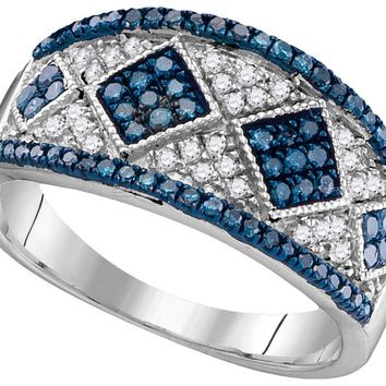 10kt White Gold Womens Round Blue Colored Diamond Striped Cluster Cocktail Ring 1/2 Cttw