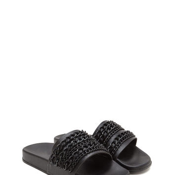 Chain Up Faux Leather Slide Sandals GoJane.com
