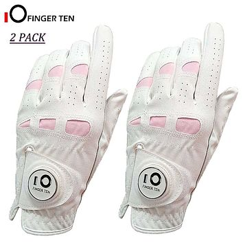 2 Pack Cabretta Leather White Soft Womens Golf Gloves with Ball Marker. Left / Right Hand Extra Grip Ladies Girls Sizes S M L XL