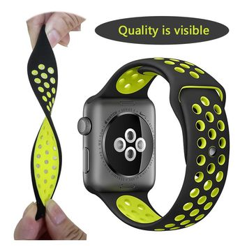 Silicon Sports Band Strap for Apple Watch 38/42mm 1:1 Original Black/Volt Black/Gray Silver iwatch watchbands