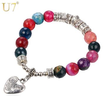 U7 Antique Silver Color Charm Bracelets & Bangles Trendy Love Heart Beads Bracelets For Women Jewelry Valentines Day H818