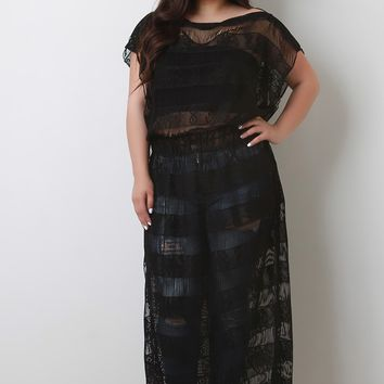 Eyelash Lace Boat Neck Cover-Up Maxi Dress