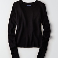 AEO Ribbed Tulip-Back Sweater, True Black