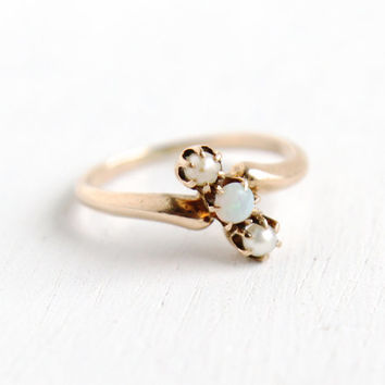 Antique 9k Rose Gold Victorian Pearl & Opal Triple Stone Ring- Vintage Late 1800s Size 3 3/4 Three Stone Bypass Fine Jewelry