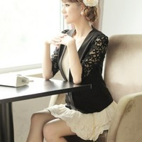 Women Polyester V-Neck Middle-Long Lace Sleeve Top Black Suit S/M/L @MF6801b