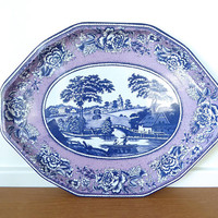 Large Daher purple and blue toile tray, rare pattern