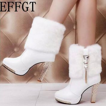 EFFGT New Women Boots Designer Fashion Platform Chunky High Heels Women Autumn Winter