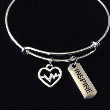 Inspire Silver Heartbeat Charm Expandable Silver Charm Bracelet Adjustable Nurse Bangle