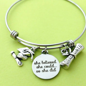 Graduation, Bangle, Bracelet, she belived, she could, so she did, Graduation cap, Mortarboard, Diploma, Bangle, Graduation, Friendship, Gift