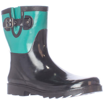Chooka Color Block Mid Calf Rain Boots - Jungle Green