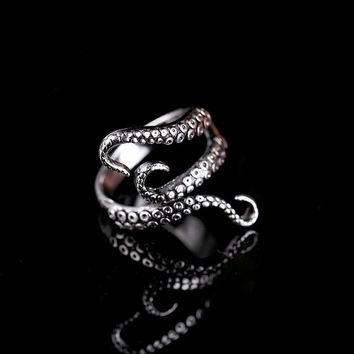 Titanium Steel Gothic Deep Sea Squid Octopus  Opened Adjustable Size ring