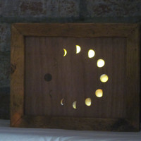 Moon Phases Glass and Timber Art Picture Lamp Handmade Lightbox Night Light