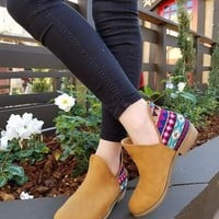 Old Time Embroidered Side Cut Booties - Camel